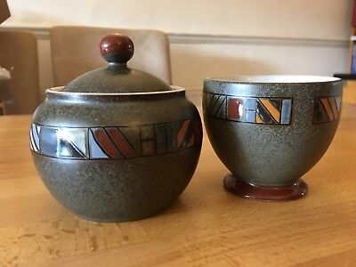 Denby Marrakesh sugar bowl with lid and open bowl