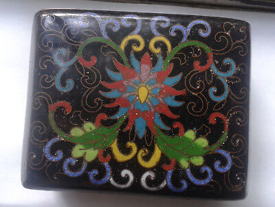Antique 1900s Chinese cloisonne Arabesque Lotus footed trinket jewelry box 3.75""