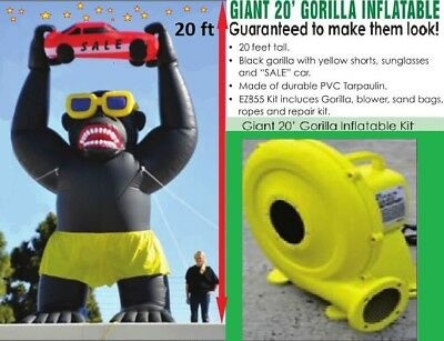 20' Car Dealer Inflatable Gorilla. Full Kit With Blower Motor. !!free Delivery!!