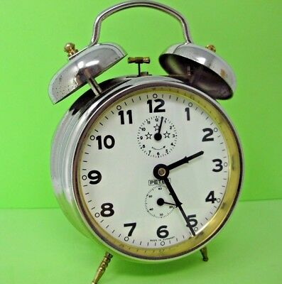 VTG PETER Twin Bell Wind up Alarm ClOCK CHROME Finish WORKS FINE German Quality