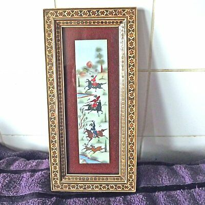 Hand painted Persian Hunting Scene Horsemen On Celluloid With Marquetry Frame