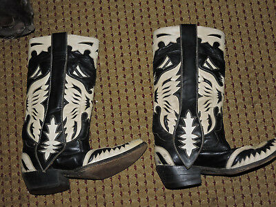 Great old vintage pair of cowboy western boots fancy black & white custom
