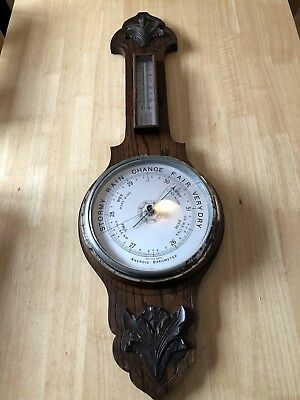 Large Antique Oak Cased ANEROID BAROMETER & THERMOMETER