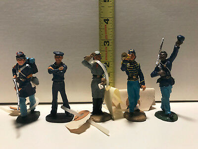Civil War Figurines (5) Franklin Mint, Fine Pewter and Hand Painted [set 3]