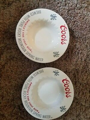 2 Vintage Coors Beer Ashtrays excellent cond!