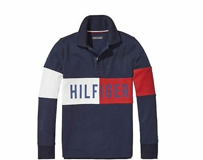 ec213f605 Tommy Hilfiger Toddler long Sleeve Polo Shirt Cotton Blue red White 12-18  Months