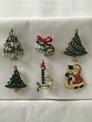 Lot Of 6 Christmas Holiday Pins Brooches...great Condition!!!