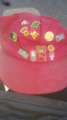 LOT 14 VINTAGE MCDONALD'S Employee Pins + Hat 1980s Lapel Button Snapback Cap