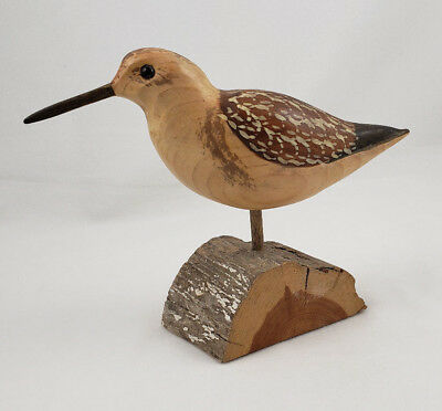"""1992 Artist Signed, Carved Wood Sanderling on Driftwood 6"""" tall, 8"""" beak to tail"""