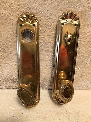 Large Front and Back Ornate Solid Brass  Door Knobs & Plates Set of Two