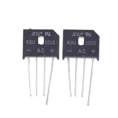 2PCS KBU1010 10A 1000V Single Phases Diode Bridge Rectifier FLCA