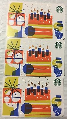 "Lot 3 Starbucks ""HAPPY BIRTHDAY"" 2018 Recycled Paper Edition gift card set NEW!"