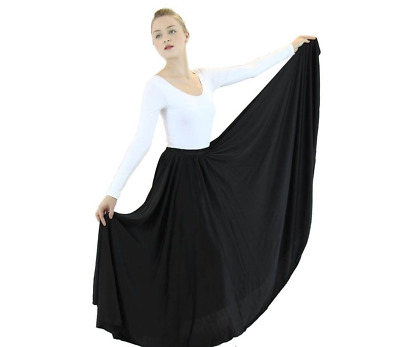 EUC Women's ADULT Long Full Circle Dance Witch Costume Skirt BLACK One Size