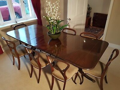 Antique William IV Twin Pedestal Dining Table + 8 chairs. Perfect for Christmas