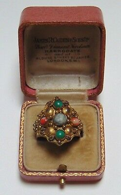 RARE Art Deco 1920s Antique Chinese Export Statement Ring Jade Coral Agate China