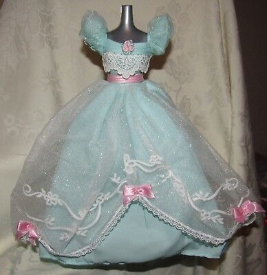 Barbie Birthday Wishes Blue Green Tulle Lace Gown Dress Fashion For Doll