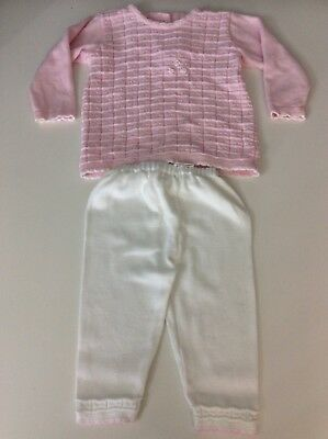 Pex Baby Girls Pink Wool Suit Outfit Set Age 6/12 Months Vgc