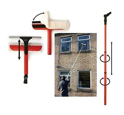 Window Telescopic Cleaning Washing Set 3.4m Extendable Pole Extra Long Squeegee