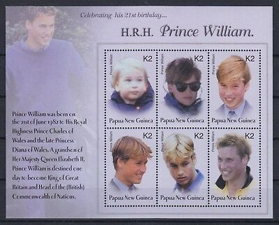 Papua-Neuguinea Mi-Nr. 995 - 1000 KB / Sheet **, Prince William - 21st Birtday