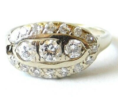 Antique Art Deco 14K White Gold 3 Stone Diamond Cluster Wedding Ring~Engagement
