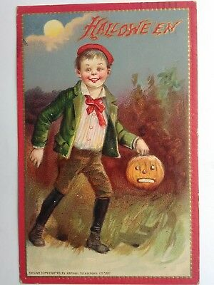 1908 Raphael TUCK'S HALLOWEEN Postcard young boy Pumpkin Series 174