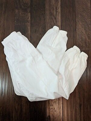 Vintage Vizor Nylon Track Pants Women's M White Lined Stretch Waist Zip Ankles