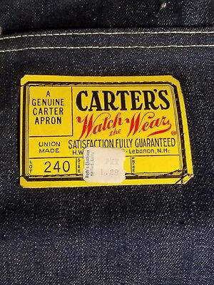 CARTER'S DENIM SHOP APRON, Brand New Never Used , 50'S-60'S