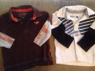 Baby Boy 18 Months Long Sleeved Shirts Lot Of 2 Collar & Buttons