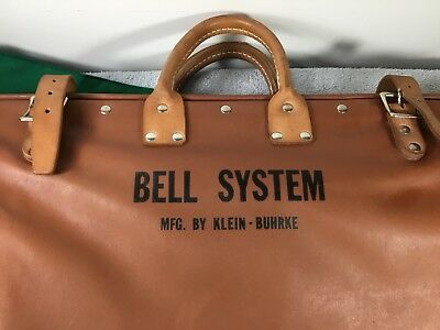 Antique  Bell System Lineman's Work Tool Bag / Carry Tote/ Mfg by Klein-Buhrke