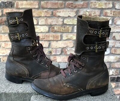 7.5C Original WW2 US Army Double Buckle Combat Boots M-43 steampunk WELL WORN