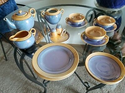 Antique Japanese Tea Set, from WWII Era, 15 Pieces Purple and gold