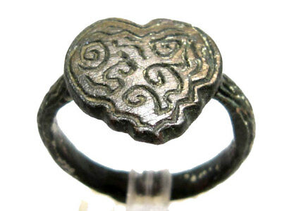 Beautiful Ancient Byzantine Period Bronze Ring, Strange Decoration+++