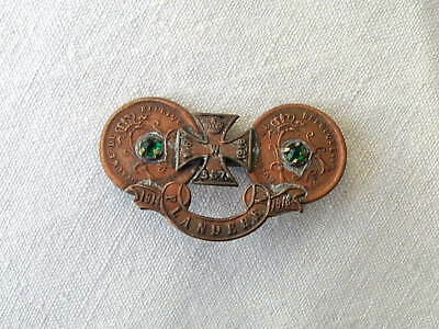 Wwi Ww1 1914 1918 German Flanders Campaign Iron Cross Medal Trench Art Badge Pin