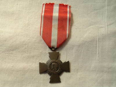 Old Wwi Ww1 1914 1918 French France Military Cross Of Valour Badge Ribbon
