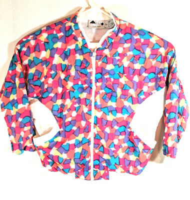 Vintage Aviat Sportif Nylon Track Jacket Women's M Colorful Full Zip Hip Hop