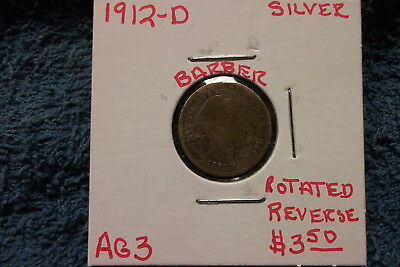 1912 Denver Barber Silver Dime In About Good Condition With A Rotated Reverse