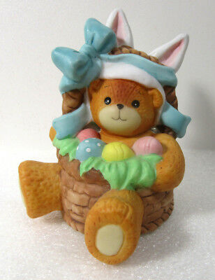 Lucy & Me ~ Easter RABBIT Ears in Basket with Eggs Spring ~ Lucy Rigg Figurine
