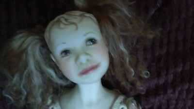 """OOAK handmade romantic shabby chicdoll 22"""" ,pink roses,gorgeous face,hand paint"""