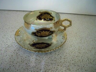 China Japan Iridescent White Gold Blue Pedistal Teacup And Saucer Set