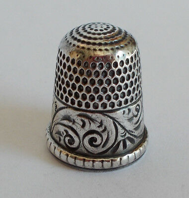 Sterling Silver Thimble - Simons - Chased Running Scrolls