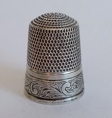 Sterling Silver Thimble - Simons - Stylized Leaves