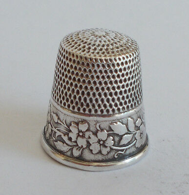 Sterling Silver Thimble - Webster - Wild Roses