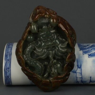 Chinese Exquisite Hand-carved Ancient characters carving Jadeite jade statue