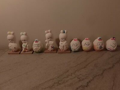 Set of 9 Vintage Geisha Handpainted Figurines,Bell Made in Japan for McCroy Corp