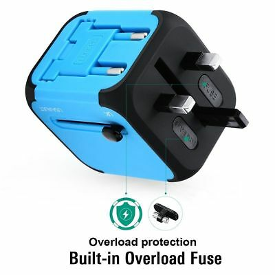 Dual USB SUPER FAST Charger 150 countries Travel Adapter  UK US EU  Europe Asia