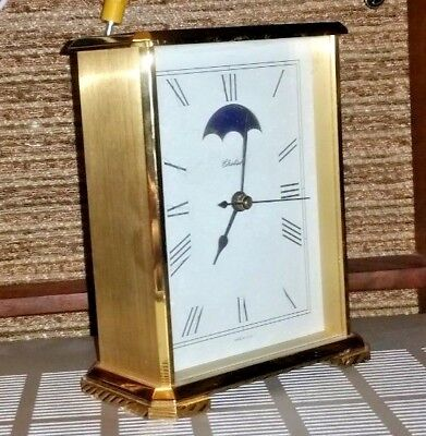 Vintage Chelsea Brass Desk Clock With Moon Dial and Hermle Quartz 2100 Movement.