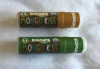 ECOLIPS 2x tubes Mongo Kiss lip balm Peppermint and Vanilla Honey 7g NEW