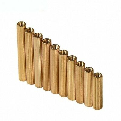 50pc M2 Brass Knurled Female-Female Screw Spacer Stanoff For Supervisory Control