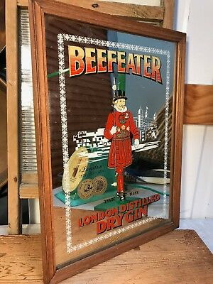 Vintage Beefeater London Dry Gin Bar Pub Man Cave Framed Mirror