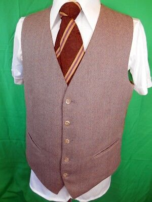 Vintage 60s 70s Reversible Dark & Light Brown Waistcoat Mod Formal Steampunk 40L